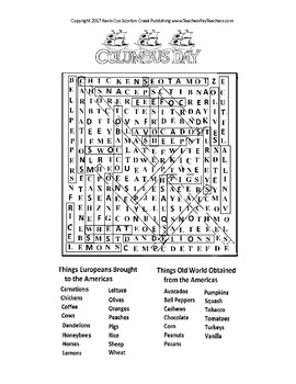 Columbus Day Word Search Puzzle