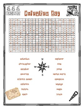 Columbus Day Word Search for Kids