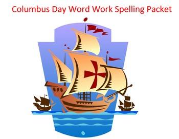 Columbus Day Word Work Packet – 15 words no prep spelling