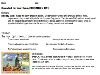 Columbus Day common core skill review worksheets