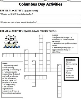Columbus Day - preview activities, strategic (chunked) reading, puzzles, etc.