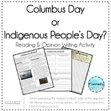 Columbus vs. Indigenous People's Day: Reading, Summary, Opinion Writing Activity