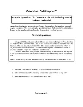 Columbus - Did It Happen?  Primary Source Analysis for Middle School History