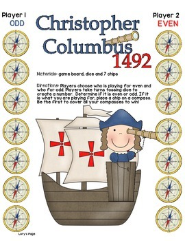 Game Board Math - Columbus - Even and Odd