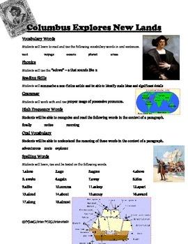 Columbus Explores New Land Weekly Skill Sheet - 2nd Grade Treasures