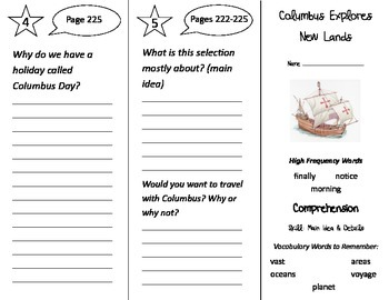 Columbus Explores New Lands Trifold - Treasures 2nd Grade