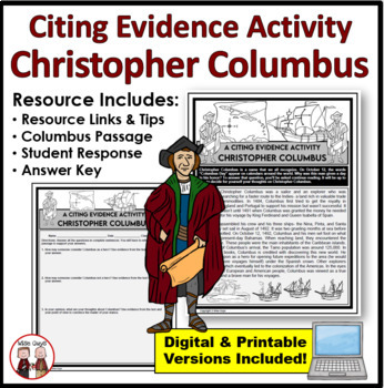 Columbus Hero or Villain Citing Evidence Activity