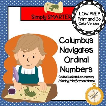 Columbus Navigates Ordinal Numbers:  LOW PREP Ordinal Number Spin Activity
