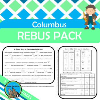 COLUMBUS REBUS Story with Key & Comprehension Questions