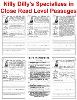 Nina Pinta Santa Maria FACTS Close Read 5 Level Passages ALL-READERS-COVERED