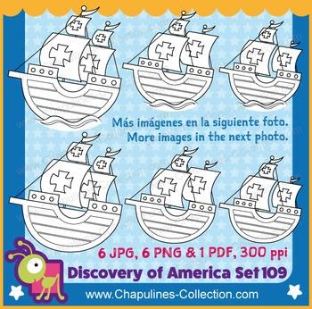 Columbus Ships Caravels Clipart La Niña, Pinta, Santa Maria, black/white Set 109