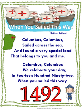 Columbus Songs, Centers and Printables