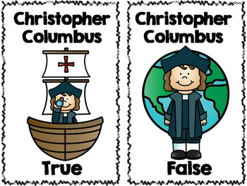 Columbus True and False Pocket Chart Activity with Writing Paper