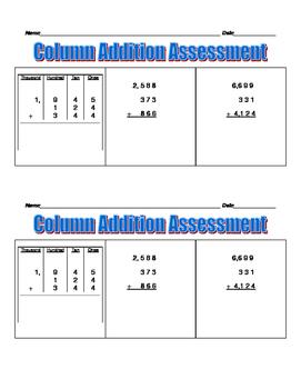 Column Addition - 2.NBT.B.6, 3.NBT.A.2., and 4.NBT.B.4.