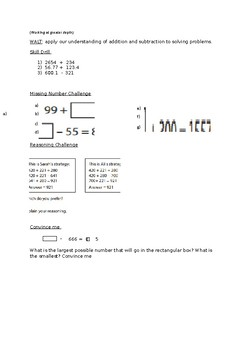 Column Addition and Subtraction - Reasoning and Skill Drill