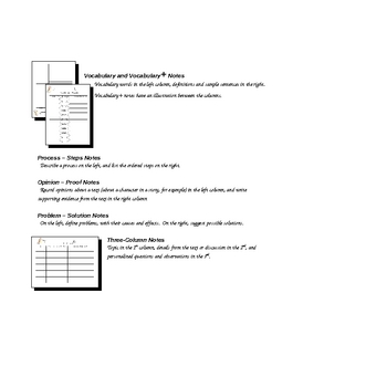 Column Notes Graphic Organizers - 9 Different Styles