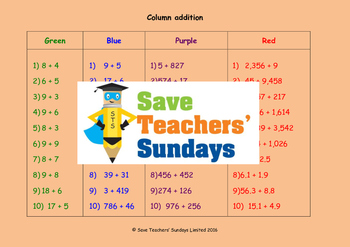 Column addition (with carrying) lesson plans, worksheets and more