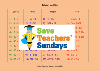 Column addition (without carrying) worksheets (4 levels of difficulty)