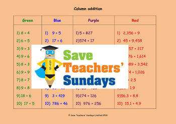 Column addition (with carrying) worksheets (4 levels of difficulty)