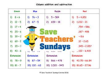 Column or Vertical Addition and Subtraction lesson plans,