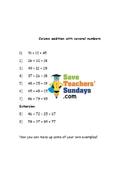 Column or Vertical Addition (several numbers) lesson plans, worksheets and more