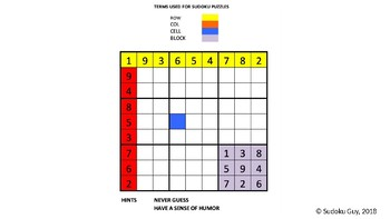 Fun with Sudoku Guy  (K-gr3, LESSON 6: Horizontal blocks and vertical blocks.