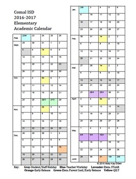 Comal ISD Year-At-A-Glance 2016-2017 Editable Elem. Academic Planning Calendar