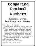 Comparing Decimal Number Cards