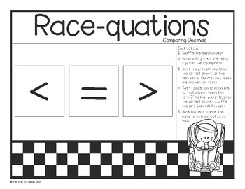 Comaring Decimals Race-quation