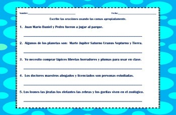 Comas en una serie - Commas in a serie - Spanish - Task Cards