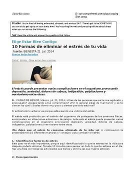 Combatir el estrés - AP Spanish Lectura y Preguntas - Stress Reading & Questions