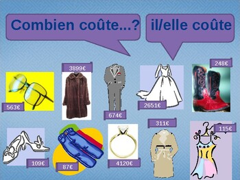 Combien coûte (Cost in French) power point activity