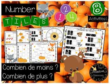 Combien de moins ? Combien de plus ? / French How  Many More? Number Tiles