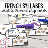Combien de syllabes? Hiver (FRENCH Winter Syllable Counting Literacy Centre)