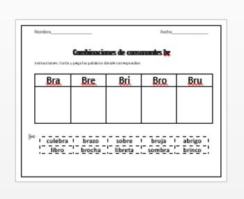 Combinaciones de consonantes