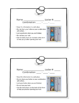 Combination Lock Instructions