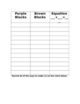 Combination Story Problem:  Twelve Blocks