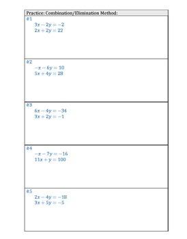 Combination/Elimination Practice