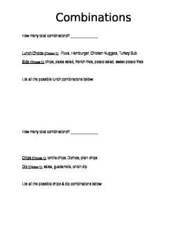 Combinations Activity Worksheet
