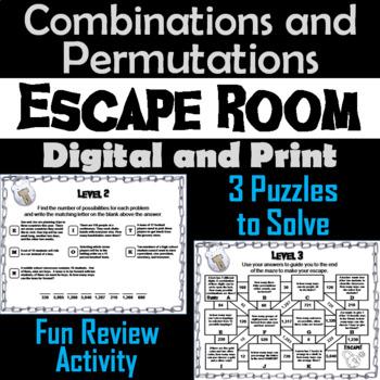Combinations and Permutations Activity: Algebra Escape Room Math