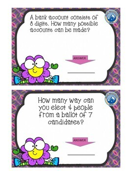 Combinations and Permutations Boom Cards--Digital Task Cards