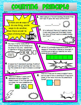 Combinations and Permutations Comic Book Style Doodle Notes and Practice