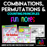 Permutations and Combinations No Prep FUN Notes Doodle Pages  and Practice