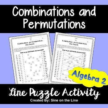 Combinations And Permutations Line Puzzle Activity By Sine On The Line