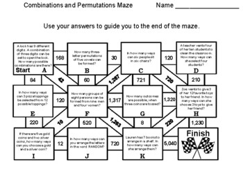 Combinations and Permutations: Math Maze