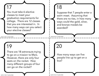 Combinations and Permutations Task Cards