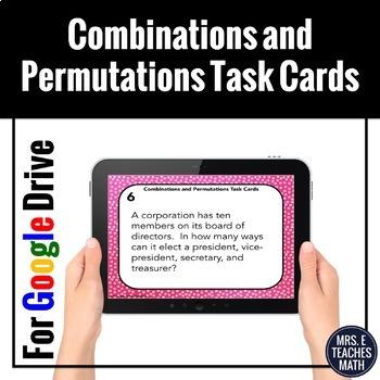 Combinations and Permutations Task Cards Digital Activity