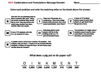 Combinations and Permutations Worksheet: Math Message Decoder