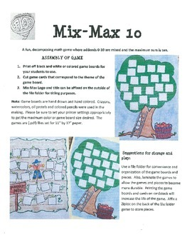 Combinations of 10 (Decomposing Numbers) Mix-Max 10 Spring Themes