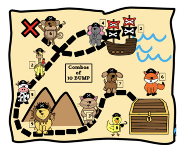 Addition Combinations of 10 Pirate BUMP Game